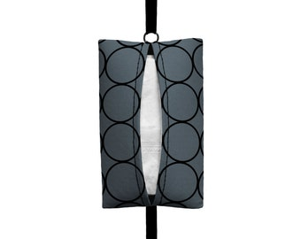 Auto Sneeze - Rings - Visor Tissue Case/Cozy - Car Accessory Automobile Dark Grey and Black Circles