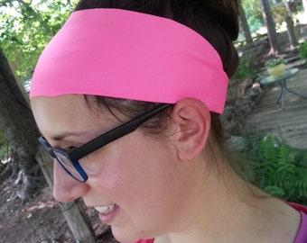 Headband | Yoga Headband | Athletic | Sporty | Spandex | Wide | Neon Pink | Activewear Headband