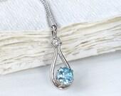 Blue Zircon and Diamond Pendant in 18k White Gold, Eco Friendly, Handmade in the UK