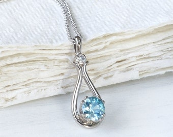 Blue Zircon and Diamond Pendant in 18k White Gold, Eco Friendly, Handmade in the UK
