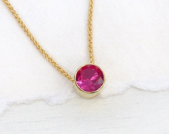 Ruby Necklace in 18k Gold, July Birthstone, Lab Grown Stone, Handmade in the UK