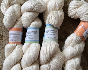 Organic Cotton & Bamboo Yarn-Lot of four hanks-Worsted Weight, Natural color.  Great for dyeing!