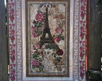 Eiffel Tower Lap Quilt, Romantic Paris Scene, Rose Fabric Blanket, Quiltsy Handmade, Quilted Throw, Floral Fabric, Brown Pink, Gift for her