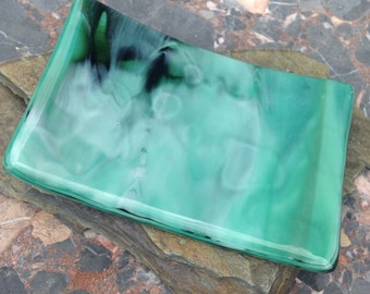 Fused Glass Soap Dish in Streaky Muted Greens, Willow Glass OOAK Home Decor, Bathroom, Kitchen
