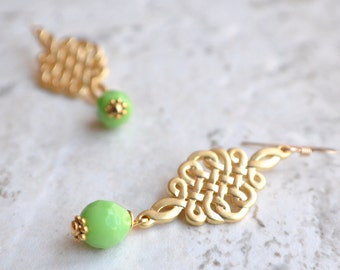 Louis - Matte Gold Mint Green Glass Bridesmaid Statement Earrings