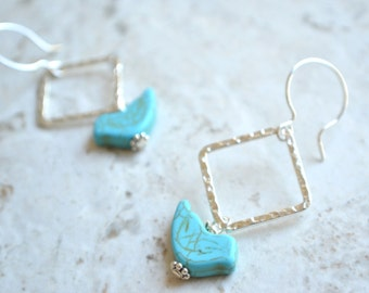 The Perched Bird- Blue Howlite and Silver Hoop Earrings