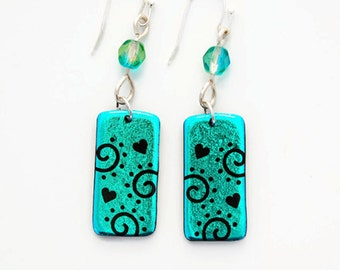 Etched Dichroic Glass Dangle, Hearts and Swirl Earrings, Green Dichroic, Earring Jewelry