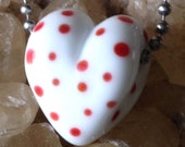 Polka dots are love lampwork heart bead valentine necklace