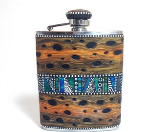 Flask stainless steel 6oz polymer clay overlay with faux burl wood iridescent mosaic inlay sterling silver beads one of a kind unique unisex
