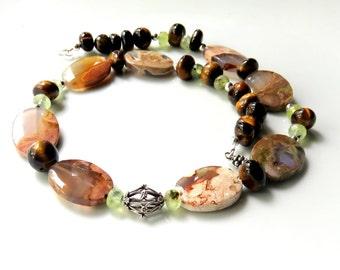 Australian Thunder Egg Agate Necklace, Autumn Color Agate Necklace, Bold Gemstone Necklace, Tiger Eye Beaded Necklace, Earthtones and Silver