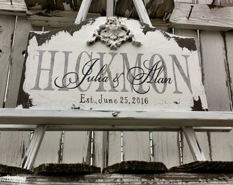 WOODEN NAME SIGN | Established Sign | Personalized | Wedding Sign | Family Sign | Hand Painted | Shabby Chic Wedding | Wall Decor