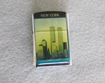 Butane Lighter showing the Twin Towers in New York City