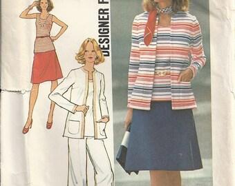 Simplicity 6793 Misses Cardigan Jacket, Top, Skirt, Pants Vintage Sewing Pattern Designer Fashion Size 14 Bust 36 Uncut