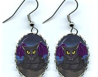 Vampire Cat Earrings Vlad Black Cat Gothic Purple Winged Cat Fantasy Cat Art Cameo Earrings 25x18mm Gift for Cat Lovers Jewelry