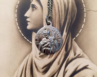 """VINTAGE JUDE MEDAL Patron Saint of Impossible Situations Steel With 26"""" Chain"""
