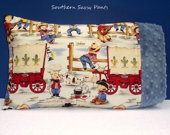 Toddler Boy Pillow Case, Cowboys Lil Cowpokes and Minky Toddler Pillowcase ONLY- ON SALE, In Stock and Ready to Ship