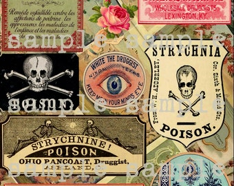 ANTIQUE Poison Labels - instant DIGITAL download Perfume Halloween vintage COLLAGE sheet - Apothecary - vintage Witch potions