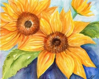 Sunflower watercolor painting original 8 x 10 sunflower wall art,  Farmhouse decor, sunflower decor, original sunflower painting