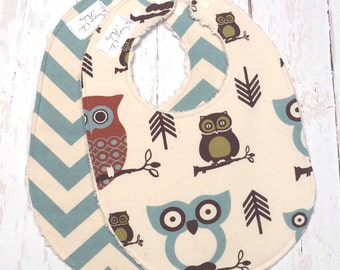 Owl Baby Bibs for Baby Boy - Chenille Triple Layer Design -  Set of 2  - Owls & Village Blue Chevron