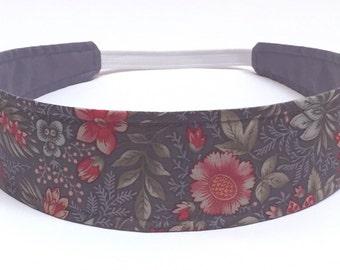 NEW - Reversible Fabric Headband  - Headbands for Women, gray, green  - GRAY FLORAL