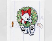 Wreath Wrangler Westie Dog Christmas Card Sets
