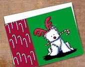 Reindeer Westie Terrier Dog Christmas Card