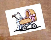 Original Dog Art Westie Terrier Baby Stroller ACEO