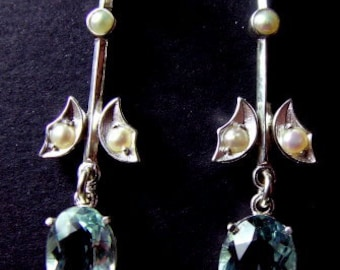 Antique style Aquamarine and pearl drop earrings