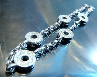 CZ Diamond Circles Bracelet in Sterling Silver vintage geometric Kisses link