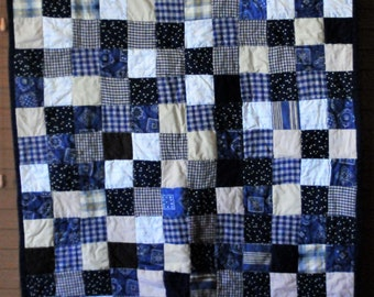 Adorable Country Themed Quilt - Navy, Tan, Cream and Brown #210