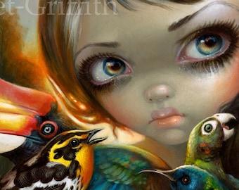 Birdsong 2 birds fairy art print by Jasmine Becket-Griffith 8x10 fairytale bird