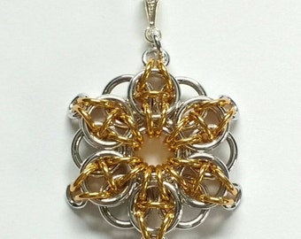 Silver & Gold Celtic Star Chainmail Pendant