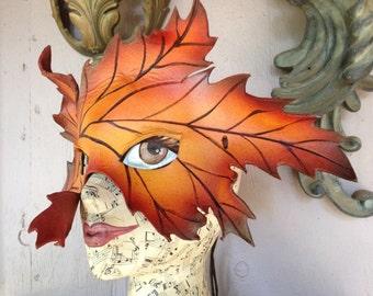 Autumn Maple LEAF, leather mask, autumn greenman mask by faerywhere