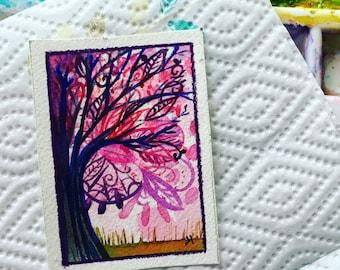 Pink Tree original ACEO art painting
