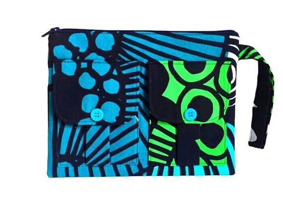 Wristlet Wallet, Fabric Wallet Wristlet, Ladies Wallet, Large Wristlet, Blue Wallet Purse