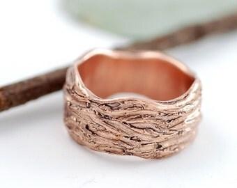 Redwoods Tree Bark Wedding Ring - 14k Rose Gold Wedding Band - wide version  - made to order wedding ring in recycled metal