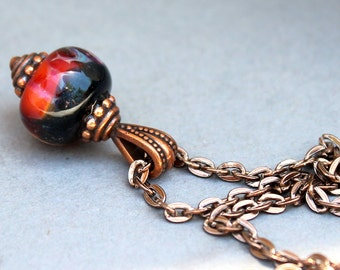 Antique Copper Lampwork Necklace, Lampwork Necklace, Shimmer Black and Maroon