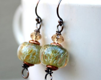 Lampwork Earrings, Glass Earrings, Copper Earrings, Dangle Earrings, Green and Tan Earrings