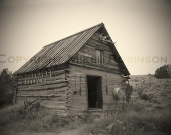 Hunting Cabin. Original Digital Photograph Print. New Mexico. Southwestern. Black and White. Antique. Wall Decor. CABIN by Mikel Robinson