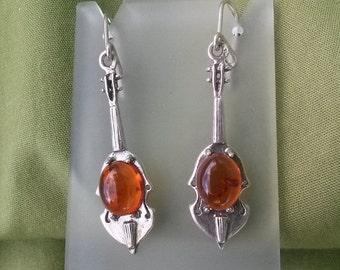 ON SALE Vintage 1980s Amber Earrings Violin Silver Wire Pierced Dangle Earrings 20150924J131
