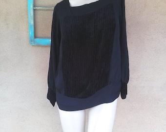 Vintage 1920s Blouse Black Silk Velvet Flapper Gatsby Shirtwaist Medium Large Up to B40 2015349