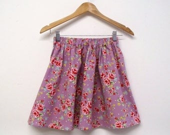 Summer mini skirt floral rose print english vintage rose shabby chic lilac purple red flowers