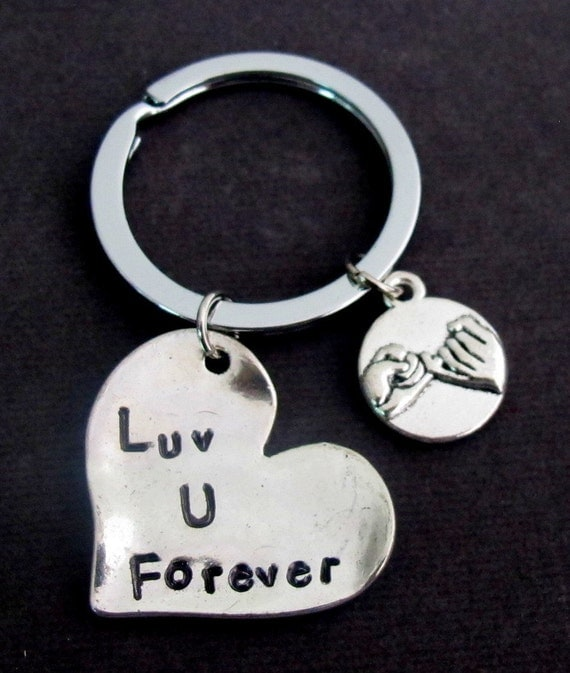 Love you forever keychain With Pinky Promise, Couples keychain, Couple Jewelry, Forever Key Chain For Loved Ones,  FREE SHIPPING USA