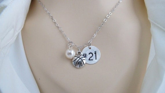 Basketball Necklace Team Gifts - Basketball Necklace Initial necklace, basketball necklace Monogram Necklace Gift for Her Free Shipping  USA
