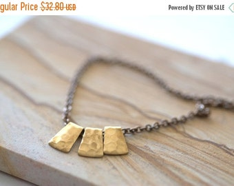ON SALE Vintage Brass Necklace Bronze Necklace Hammered Bronze Pendant Necklace Abstract Brass Gifts for Her Triple Brass Pendant Necklace