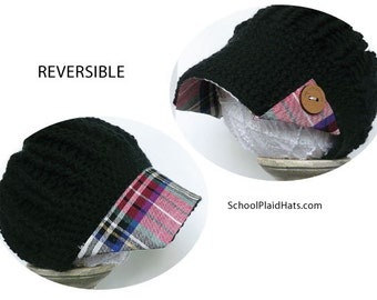 Mothers Day gift for her plaid hat button brim upcycled fabric tartan plaid hat gift for her mom gift hats for teens cute hats wholesale