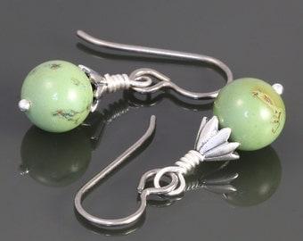 Green Turquoise Earrings. Titanium Ear Wires. Genuine Turquoise. Drop Earrings. f16e020