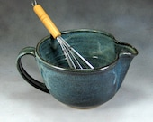 Blue Medium Ceramic Batter Bowl With Whisk Hand Thrown Stoneware Pottery Bowl 5