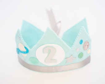 Boys Personalized Felt Birthday Crown - Outer Space Solar System Birthday Party