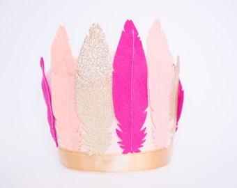 Glitter Feather Crown // Smash Cake // Flower Crown